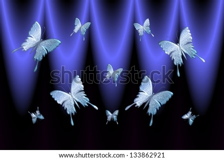 Butterfly artistic work in a blue background. - stock photo