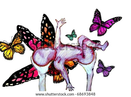 Butterfly Baby Illustration - stock photo