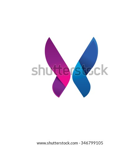 Butterfly colorful logo template with shadow on wings. Abstract butterfly shape in blue and violet colors. Beautiful modern butterfly icon design for business card, brand or identity. Stock. - stock photo