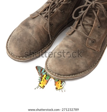 Butterfly crushed by a boot. Ecological negative concept.White background
