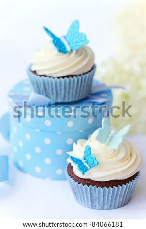 Butterfly cupcakes - stock photo
