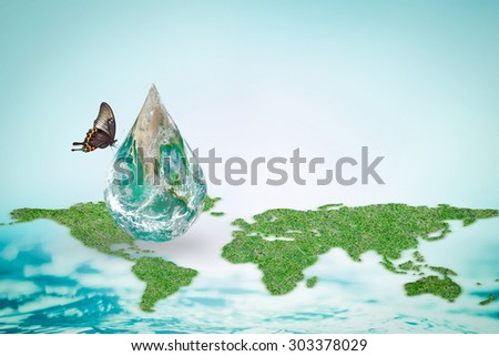 Butterfly drinking water from green globe droplet with world map/ ocean background : Save world environment and hydrography concept to combat desertification :Elements of this image furnished by NASA - stock photo