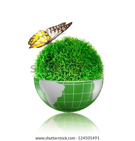 Butterfly flying to the ball of grass inside the globe with plant growing - stock photo