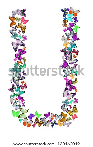 Butterfly font in white. Letter U - stock photo