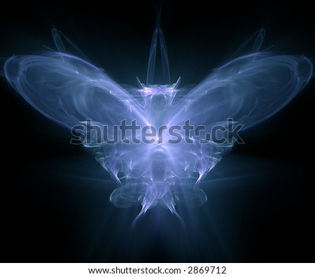 Butterfly - fractal generated set on black - stock photo