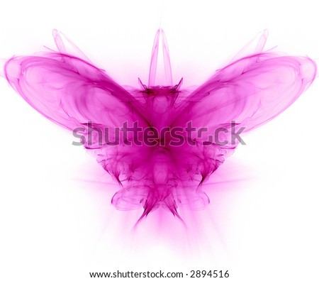 Butterfly - fractal generated set on white - stock photo