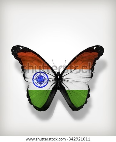Butterfly India flag on paper as card - stock photo