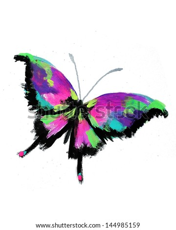 Butterfly (isolated on white background)- original oil and acrylic painting handmade by artist (me) - stock photo