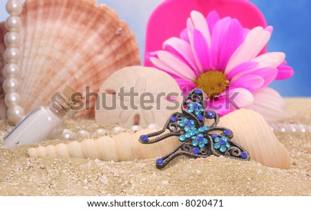Butterfly Jewelry on Sand With Sea Shells, Shallow DOF - stock photo