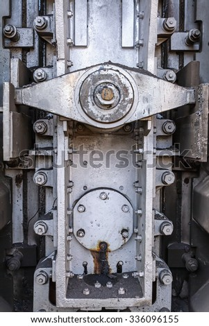 Butterfly - locking mechanism on the door of the coke ovens - stock photo