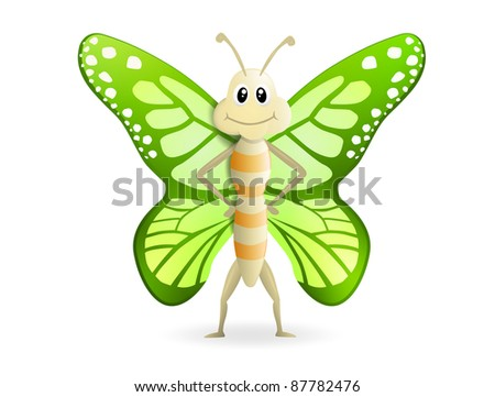 butterfly mascot, very high resolution - stock photo