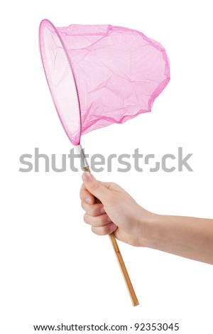 Butterfly net for catching butterflies with a bamboo handle - stock photo