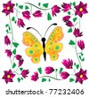 butterfly on a background flower - stock vector