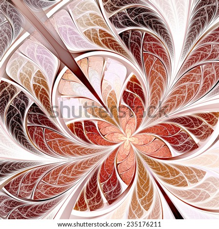 Butterfly on a flower. Abstract artistic soft color pattern on white. Digital artwork. Fine decoration of a desktop background, interior, album, flyer cover. Fractal art - stock photo