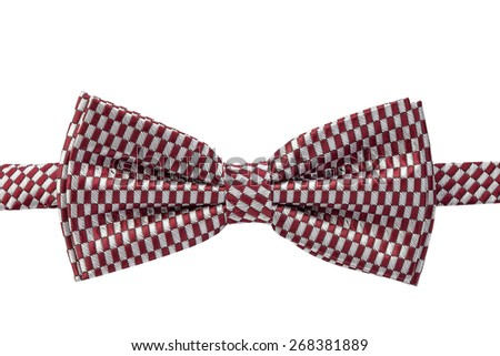 Butterfly red tie on a white background. handmade - stock photo