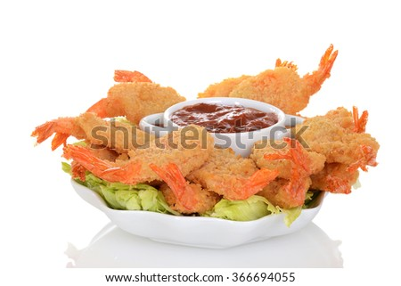 butterfly shrimp with seafood sauce - stock photo