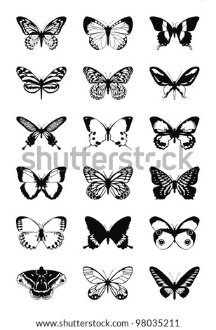 Butterfly silhouette - stock photo