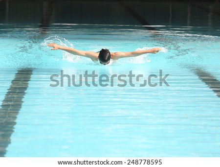 Butterfly stroke  swimming sport practice for competition in stadard pool.