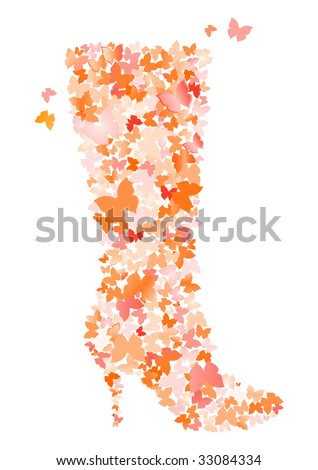 butterfly stylized shoe - stock photo