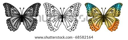 Butterfly tattoo 2 - stock photo