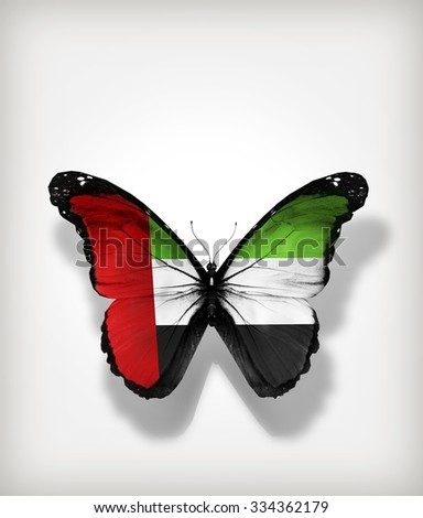 Butterfly UAE flag on paper_CARD - stock photo
