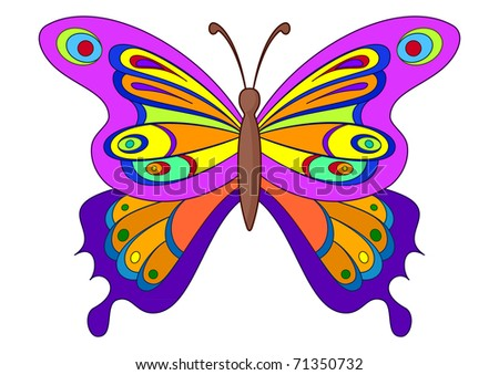 Butterfly with opened multi-coloured wings. Natural beauty - stock photo
