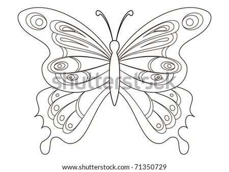 Butterfly with opened wings, contours. Paint your favourite colours :) - stock photo