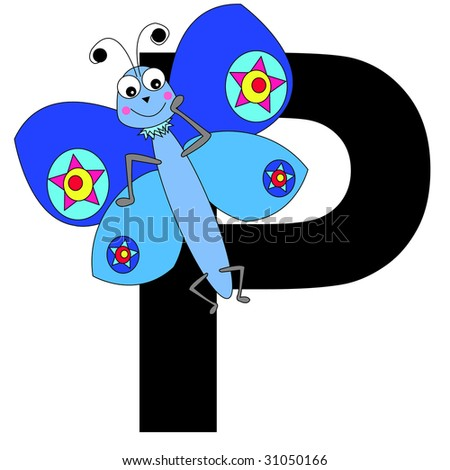 butterfly with the letter P - stock photo