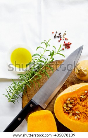 butternut squash and and chef knife. Ingredients - stock photo