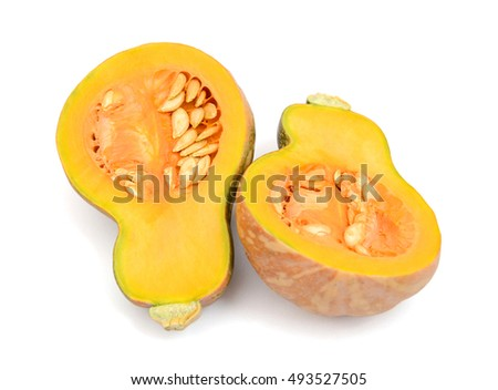 butternut squash cut in half isolated on white