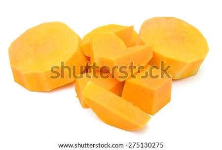 butternut squash slices on white background - stock photo