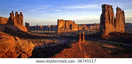 Buttes and mesas in Arches National Park, near Moab, Utah. - stock photo