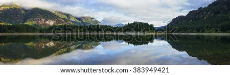 Buttle Lake, Strathcona Park, Vancouver Island, British Columbia, Canada, Panorama - stock photo