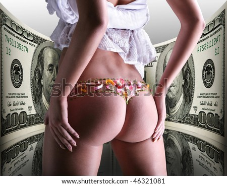 Buttocks decorated with flowers under money, 100 american dollars - stock photo