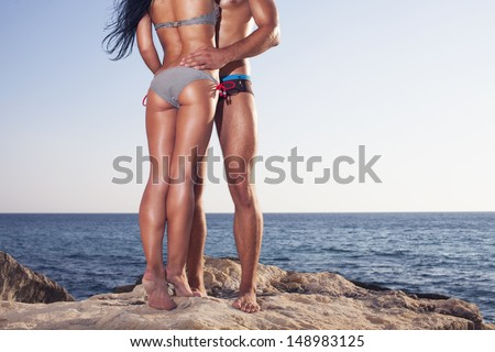 buttocks of fitness girl - stock photo