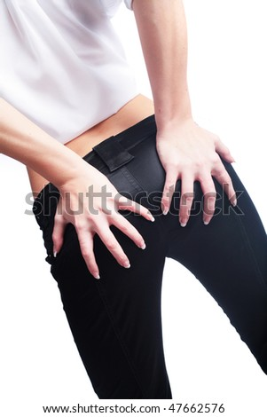 buttocks of the slim woman on white background