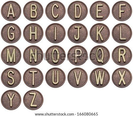 Button alphabet. Letters made of metal. - stock photo