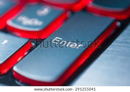 button an enter on the computer keyboard - stock photo