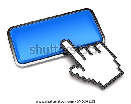 Button and hand cursor - stock photo