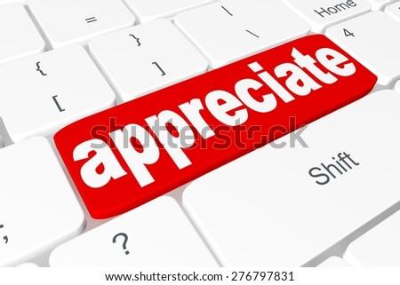 "Button ""appreciate"" on keyboard - stock photo"
