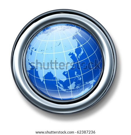 button asia pacific globe earth isolated