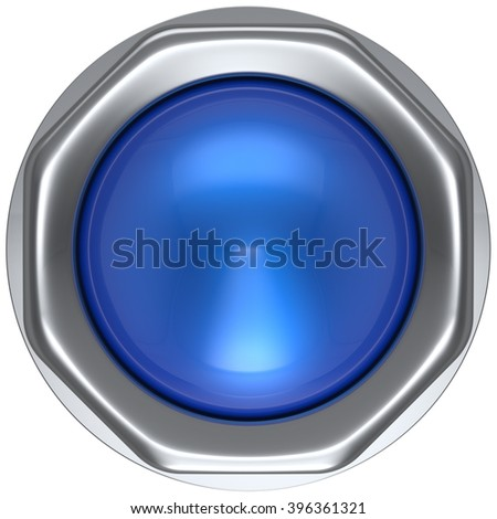 Button blue push down activate ignition military game panic start turn off on action power switch electric design element metallic shiny blank led lamp. 3d render isolated - stock photo