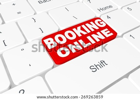 """Button """"Booking online"""" on keyboard - stock photo"""