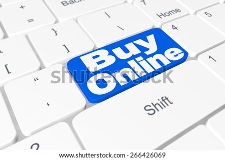 """Button """"Buy online"""" on keyboard - stock photo"""