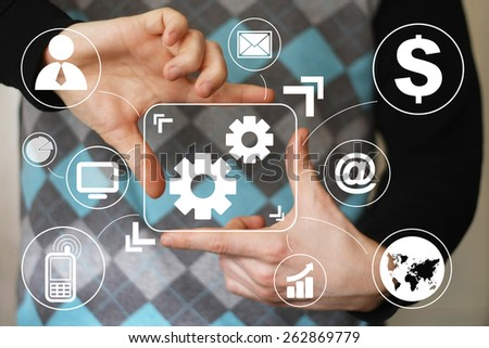 Button engineering business communication virtual - stock photo