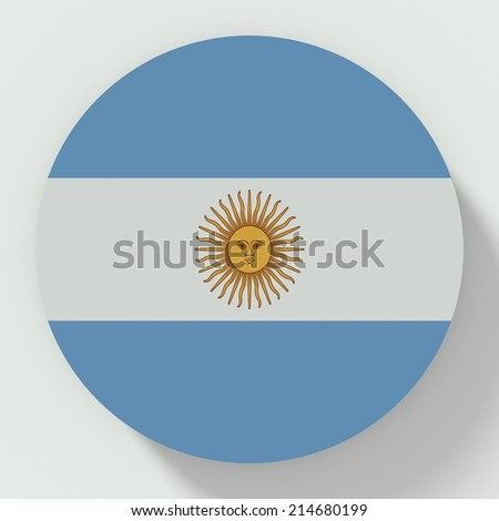 button flat design with flag of argentina - stock photo