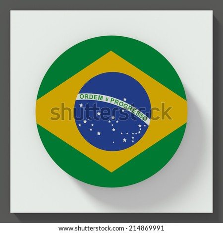 button flat design with flag of brazil - stock photo