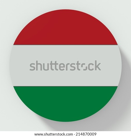 button flat design with flag of hungary - stock photo