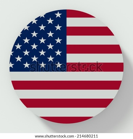 button flat design with flag of united states of america - stock photo