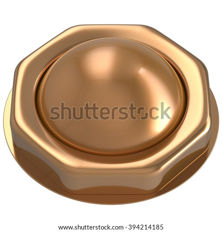 Button gold start turn off on action push down activate ignition power switch electric design element metallic shiny blank golden yellow. 3d render isolated - stock photo